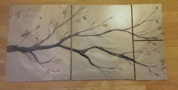 DIY canvas art tree branch painting
