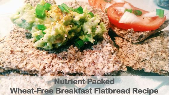 nutrient packed wheat free breakfast flatbread with avocado